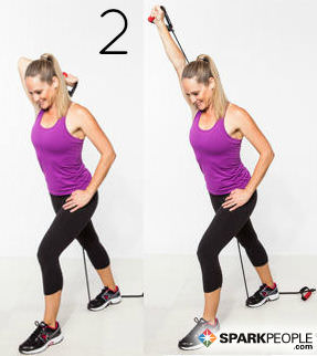 A Variation On Triceps Extension Move 3 This Exercise Uses Band At An Overhead Angle To Challenge The Arm Without Stressing Joint
